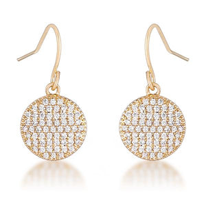 .6 Ct Elegant CZ Gold Plated Disk Earrings - Jewelry Xoxo