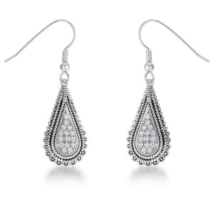 .45 Ct Tear Drop Rhodium Earrings with CZ - Jewelry Xoxo