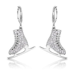 Delicate .85Ct Rhodium Plated Ice Skate Earrings - Jewelry Xoxo