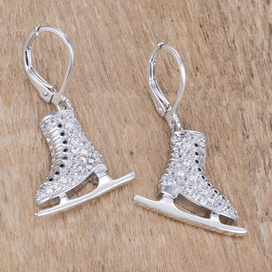 Delicate .85Ct Rhodium Plated Ice Skate Earrings