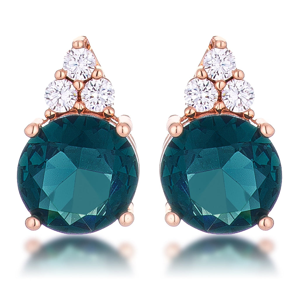 Simple Rose Gold Plated 9mm Blue Green CZ Stud Earring