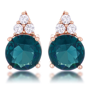 Simple Rose Gold Plated 9mm Blue Green CZ Stud Earring - Jewelry Xoxo