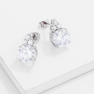 Simple Rhodium Plated 9mm Clear CZ Stud Earring - Jewelry Xoxo