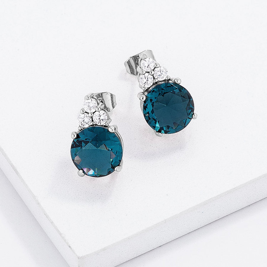 Simple Rhodium Plated 9mm Blue Green CZ Stud Earring