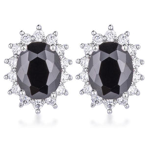 Rhodium Plated Black Petite Royal Oval Earrings - Jewelry Xoxo