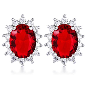 Rhodium Plated Ruby Red Petite Royal Oval Earrings - Jewelry Xoxo
