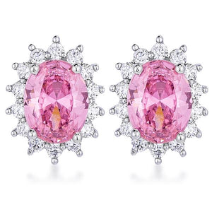 Rhodium Plated Pink Petite Royal Oval Earrings - Jewelry Xoxo