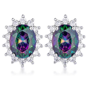 Rhodium Plated Mystic Petite Royal Oval Earrings - Jewelry Xoxo