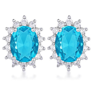 Rhodium Plated Aqua Blue Petite Royal Oval Earrings - Jewelry Xoxo