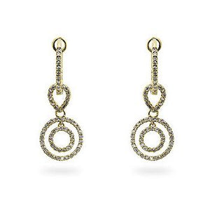 Yellow Gold Diamond Dangles - Jewelry Xoxo