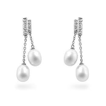Pearl Diamond Dangles