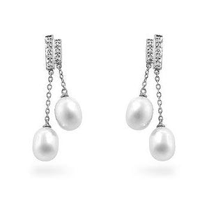 Pearl Diamond Dangles - Jewelry Xoxo