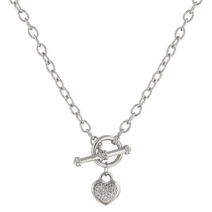 Toggle Pave Heart Necklace - Jewelry Xoxo