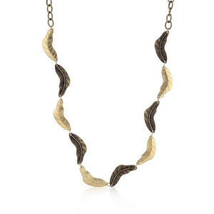 Vintage Leaf Two-tone Finish Necklace - Jewelry Xoxo