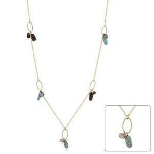 Golden Assorted Charms and Crystals Necklace - Jewelry Xoxo