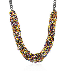 Multicolor Acrylic Bead Twisting Necklace - Jewelry Xoxo