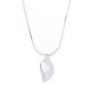 Rhodium Plated Crystal Leaf Necklace - Jewelry Xoxo