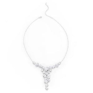 Bejeweled Cubic Zirconia Bib Necklace - Jewelry Xoxo