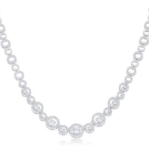 Graduated Cubic Zirconia Necklace - Jewelry Xoxo