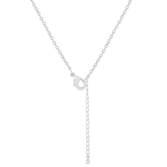 Chrisette 0.4ct CZ Rhodium Classic Drop Lariat Necklace - Jewelry Xoxo