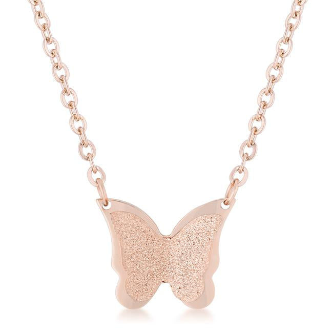 Breanne Rose Gold Stainless Steel Rose Gold Butterfly Necklace - Jewelry Xoxo