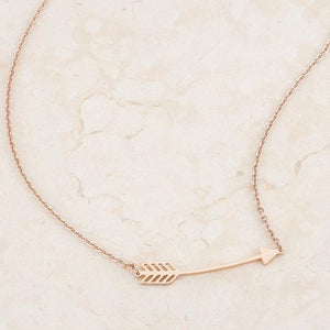 Arianna Rose Gold Stainless Steel Arrow Necklace - Jewelry Xoxo
