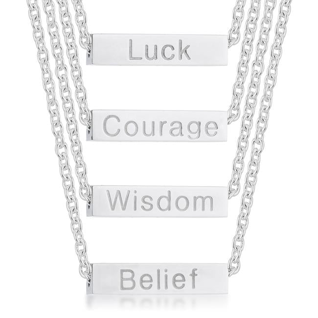 Luck Rhodium Stainless Steel Bar Script Necklace