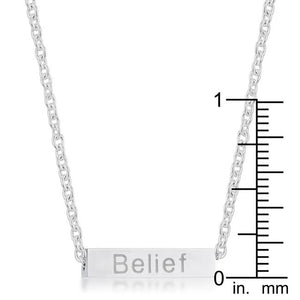 Luck Rhodium Stainless Steel Bar Script Necklace - Jewelry Xoxo