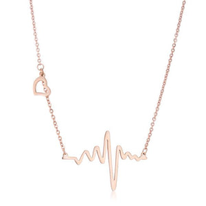 Hana Rose Gold Stainless Steel Delicate Heartbeat Necklace - Jewelry Xoxo