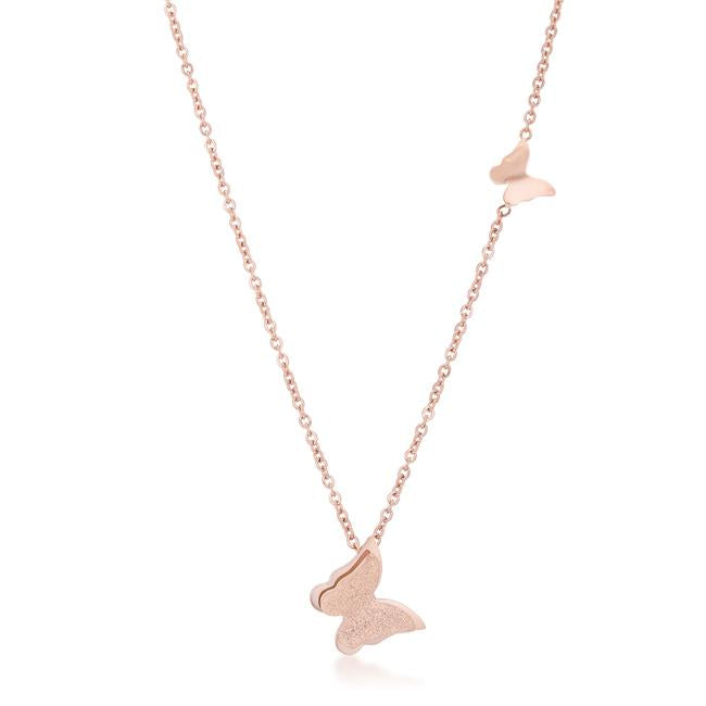 Beatrice Rose Gold Stainless Steel Delicate Butterfly Necklace - Jewelry Xoxo
