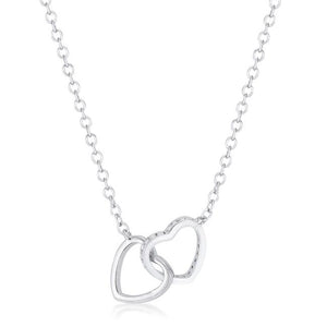 .22 Ct Interlocking Hearts Necklace with CZ - Jewelry Xoxo