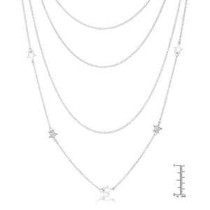 Multi-Chain Rhodium Star Necklace with CZ - Jewelry Xoxo