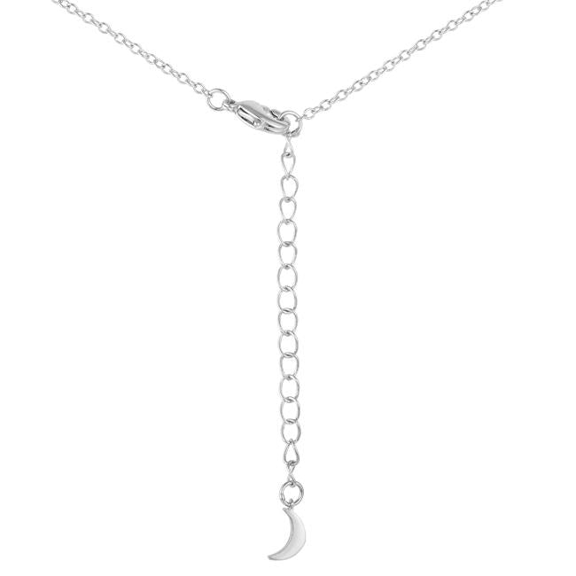 .6Ct Dazzling Rhodium Moon and Stars Necklace with CZ - Jewelry Xoxo