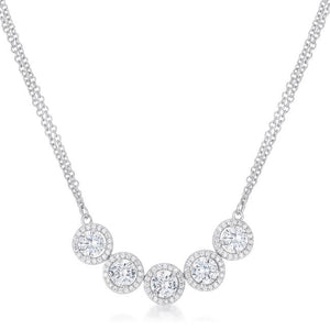 5 Ct Dazzling Rhodium Necklace with CZ - Jewelry Xoxo
