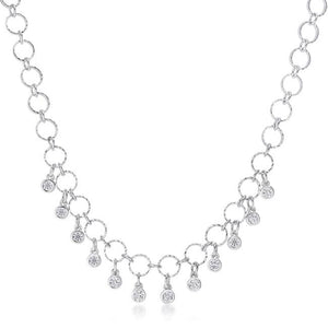 1.32 Ct Stunning Rhodium Necklace with CZ Charms - Jewelry Xoxo
