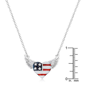 .14 Ct Patriotic Winged Heart Necklace with CZ Accents - Jewelry Xoxo