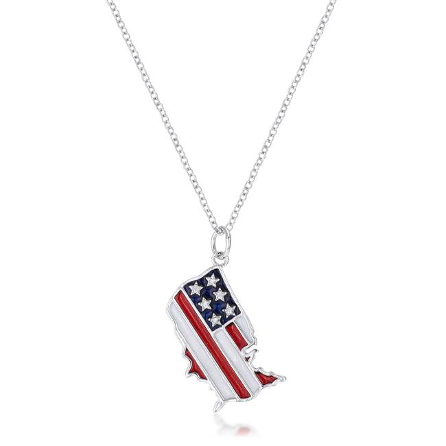 .015 Ct Patriotic U.S. Map Necklace - Jewelry Xoxo