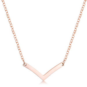 Stainless Steel Rose Goldtone Chevron Necklace - Jewelry Xoxo