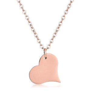 Rose Goldtone Heart Pendant - Jewelry Xoxo