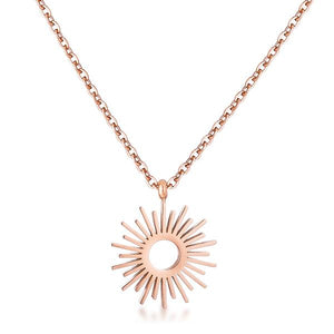 Rose Goldtone Sunburst Necklace - Jewelry Xoxo