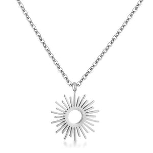 Silvertone Sunburst Necklace - Jewelry Xoxo