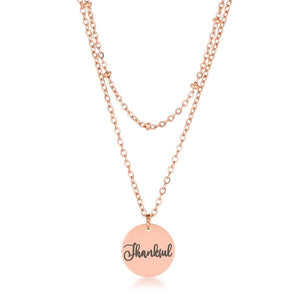 "Delicate Rose Gold Plated ""Thankful"" Necklace"