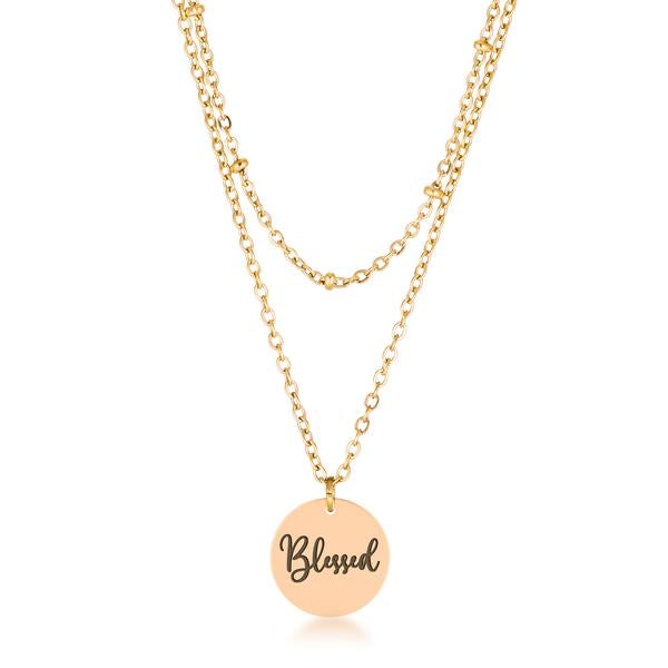 "Delicate 18k Gold Plated ""Blessed"" Necklace"