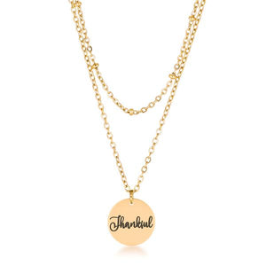 "Delicate 18k Gold Plated ""Thankful"" Necklace - Jewelry Xoxo"