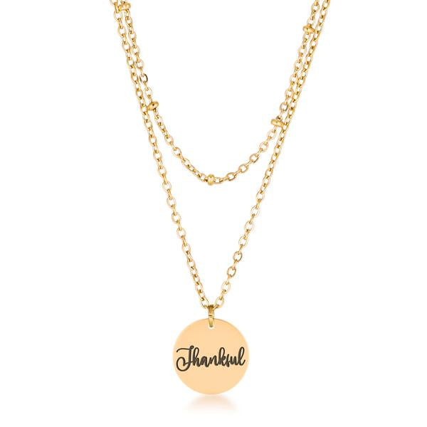 "Delicate 18k Gold Plated ""Thankful"" Necklace"