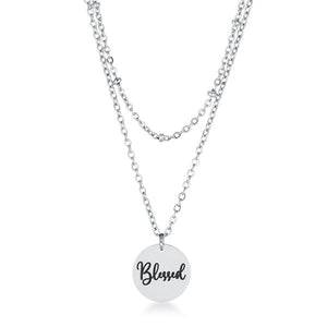 "Delicate Stainless Steel ""Blessed"" Necklace"