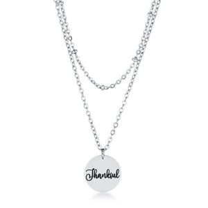 "Delicate Stainless Steel ""Thankful"" Necklace - Jewelry Xoxo"