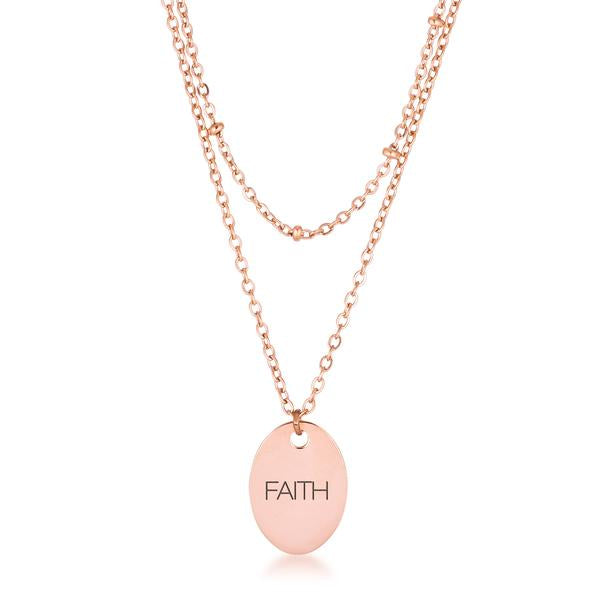 "Rose Gold Plated Double Chain ""FAITH"" Necklace"