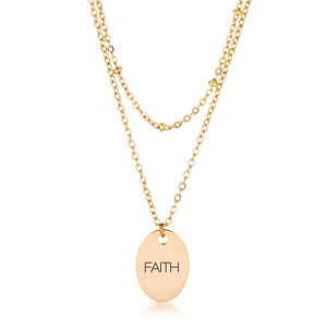 "18k Gold Plated Double Chain ""FAITH"" Necklace - Jewelry Xoxo"
