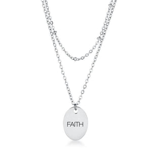 "Stainless Steel Double Chain ""FAITH"" Necklace - Jewelry Xoxo"